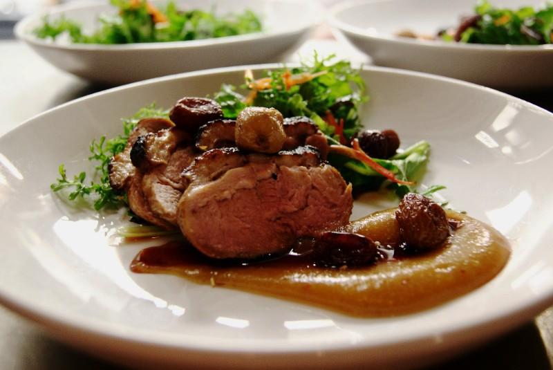 pork tenderloin served in Feast Bistro, Bozeman Montana
