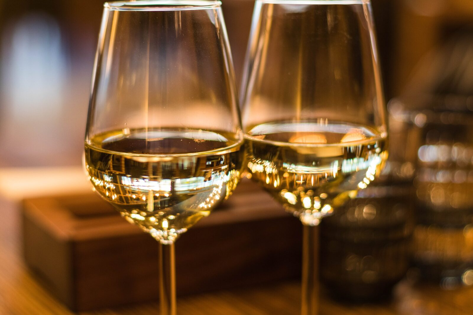 two glasses of new world white wine
